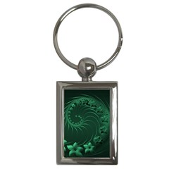 Dark Green Abstract Flowers Key Chain (Rectangle)