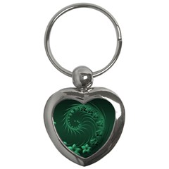 Dark Green Abstract Flowers Key Chain (Heart)