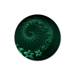 Dark Green Abstract Flowers Drink Coaster (Round)