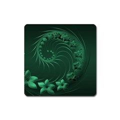 Dark Green Abstract Flowers Magnet (Square)