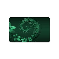 Dark Green Abstract Flowers Magnet (Name Card)