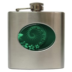 Dark Green Abstract Flowers Hip Flask