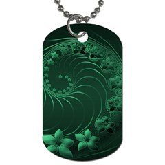 Dark Green Abstract Flowers Dog Tag (two Sided)