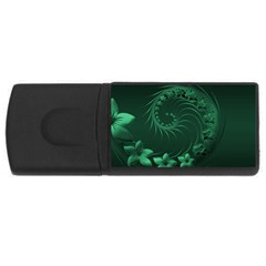 Dark Green Abstract Flowers 1GB USB Flash Drive (Rectangle)