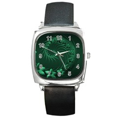 Dark Green Abstract Flowers Square Leather Watch