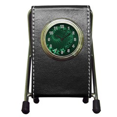 Dark Green Abstract Flowers Stationery Holder Clock