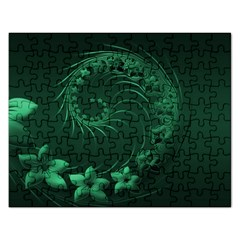 Dark Green Abstract Flowers Jigsaw Puzzle (Rectangle)