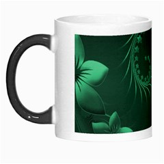 Dark Green Abstract Flowers Morph Mug