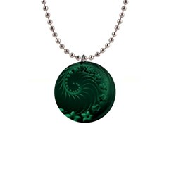 Dark Green Abstract Flowers Button Necklace