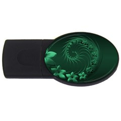Dark Green Abstract Flowers 4GB USB Flash Drive (Oval)
