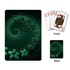 Dark Green Abstract Flowers Playing Cards Single Design
