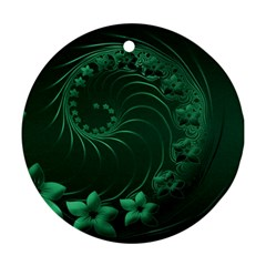 Dark Green Abstract Flowers Round Ornament (Two Sides)