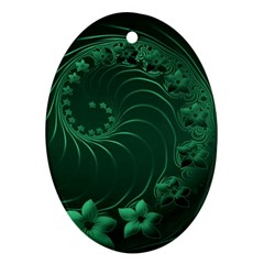 Dark Green Abstract Flowers Oval Ornament (Two Sides)