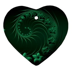 Dark Green Abstract Flowers Heart Ornament (Two Sides)