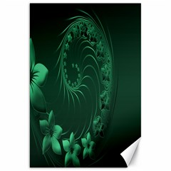 Dark Green Abstract Flowers Canvas 20  x 30  (Unframed)