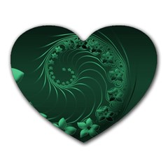 Dark Green Abstract Flowers Mouse Pad (heart)