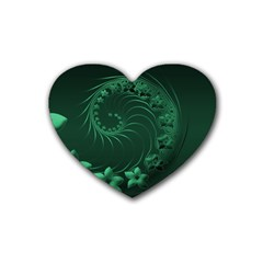 Dark Green Abstract Flowers Drink Coasters 4 Pack (Heart)