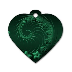 Dark Green Abstract Flowers Dog Tag Heart (One Sided)