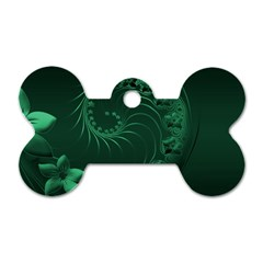Dark Green Abstract Flowers Dog Tag Bone (Two Sided)