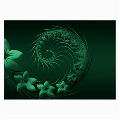 Dark Green Abstract Flowers Glasses Cloth (large)