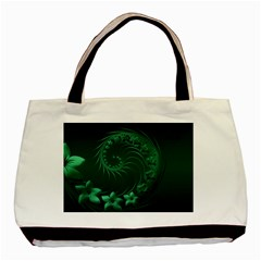 Dark Green Abstract Flowers Twin-sided Black Tote Bag
