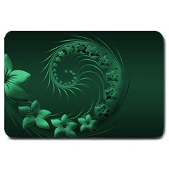 Dark Green Abstract Flowers Large Door Mat