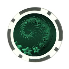 Dark Green Abstract Flowers Poker Chip