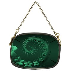 Dark Green Abstract Flowers Chain Purse (One Side)