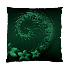 Dark Green Abstract Flowers Cushion Case (One Side)
