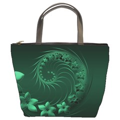 Dark Green Abstract Flowers Bucket Bag