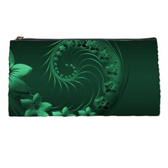 Dark Green Abstract Flowers Pencil Case