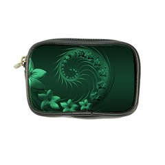 Dark Green Abstract Flowers Coin Purse