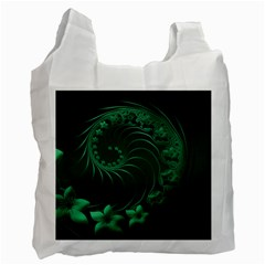 Dark Green Abstract Flowers Recycle Bag (Two Sides)