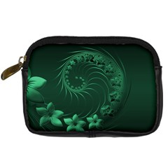 Dark Green Abstract Flowers Digital Camera Leather Case