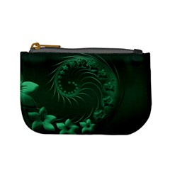 Dark Green Abstract Flowers Coin Change Purse