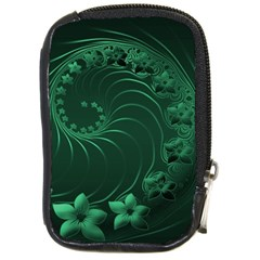 Dark Green Abstract Flowers Compact Camera Leather Case
