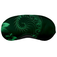 Dark Green Abstract Flowers Sleeping Mask