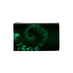 Dark Green Abstract Flowers Cosmetic Bag (Small)
