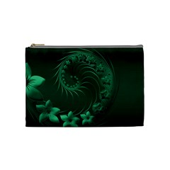 Dark Green Abstract Flowers Cosmetic Bag (Medium)
