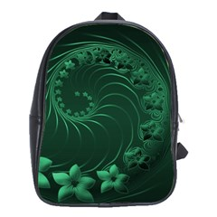 Dark Green Abstract Flowers School Bag (Large)