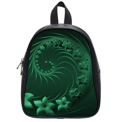 Dark Green Abstract Flowers School Bag (Small)