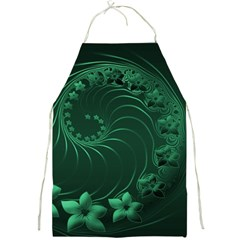 Dark Green Abstract Flowers Apron