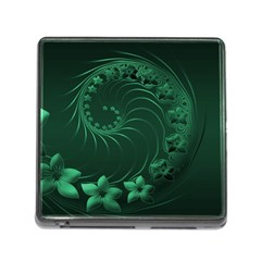 Dark Green Abstract Flowers Memory Card Reader With Storage (square)