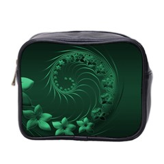 Dark Green Abstract Flowers Mini Travel Toiletry Bag (Two Sides)