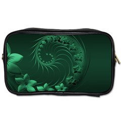 Dark Green Abstract Flowers Travel Toiletry Bag (One Side)