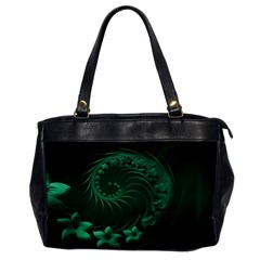 Dark Green Abstract Flowers Oversize Office Handbag (One Side)