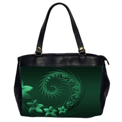 Dark Green Abstract Flowers Oversize Office Handbag (Two Sides)