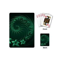 Dark Green Abstract Flowers Playing Cards (Mini)