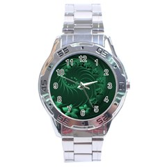 Dark Green Abstract Flowers Stainless Steel Watch (men s)