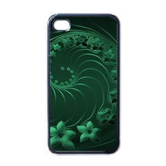 Dark Green Abstract Flowers Apple iPhone 4 Case (Black)